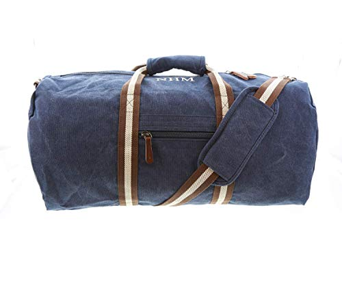 aztex Vintage Canvas Holdall Bag, Weekend Bag, Gym Bag, Carry on Bag, 2 Colours, Personalised, Oxford Navy