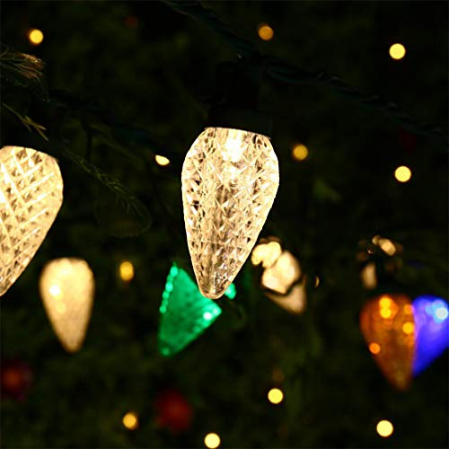 Christmas String Lights,Led C9 Strawberry String Lights,5m(16.4ft) 50 LEDs Battery Powered Fairy String Lights for Holiday Decorations