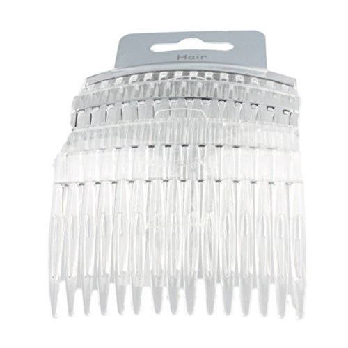 Set of 4 Clear Plain Hair Combs Slides 7cm (2.8) by Pritties Accessories