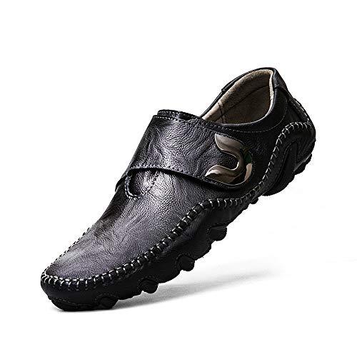 Men's Genuine Leather Loafer Shoes Slip On Soft Walking Driving Shoes(Black-Lable 38/5.5 D(M) US Men)