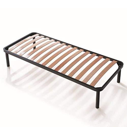 EVERGREENWEB - Bett Lattenrost 75x190 Einzelbett Höhe 35 cm Orthopädisches Extra Komfort Leisten Holz mit 4 Abnehmbar Füße, Verstärkte Rahmen aus Stahl Bettgestell geeignet für alle Betten & Matratzen