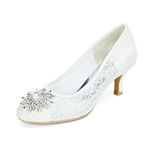 Zapatos de boda de fiesta para muje Pedrería satinada la Novia Tacones...