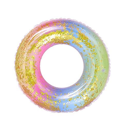 AnCoSoo Regenbogen Glitzer Schwimmring, Haltbar Aufblasbarer Schwimmring für Kinder, Schwimmreif Wasserspielzeug für Pool Strand Party