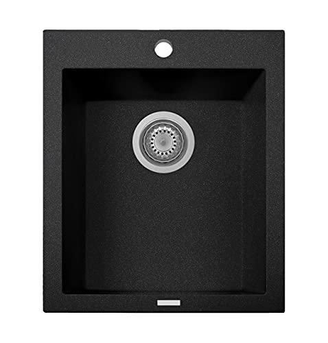 ZUHNE Black Kitchen, RV or Wet Bar Sink, Granite Composite (16 x 20 Inch Undermount or Drop-In)