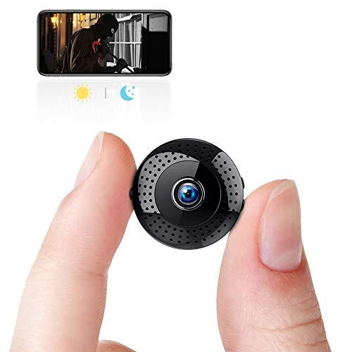Mini Cámara Oculta 1080p, Cámara Portátil con Wifi, con Visión Nocturna y Detección de Movimiento y Grabación en Bucle, Tamaño Reducido y Montaje Fácil, Apto para Dormitorio, Oficina, Patio
