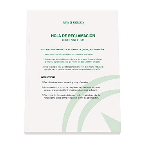 Dohe Libro de Hojas de Reclamaciones Junta de Andalucía (Actualizado 2019)