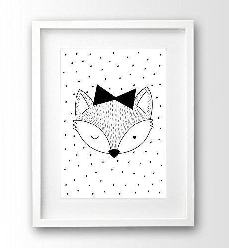Kinderposter ungerahmt A4, kleiner Fuchs, skandinavisch, schwarz weiss