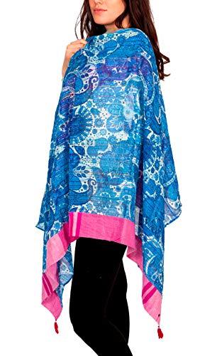 Rubicon SWIMMING POOL Damenschal, Tuch, Sommer, Sommerschal, Schal für Damen, Strand, Farbe: blau, Baumwolle
