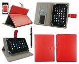 emartbuy® Medion LifeTab S7852 7.85 Zoll Tablet Universalbereich Rot Multi Winkel Folio Executive Hülle Cover Wallet Hülle Schutzhülle mit Kartensteckplätze + Schwarz Eingabestift