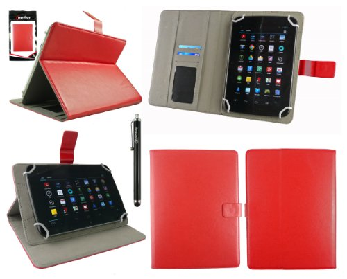 Emartbuy® AlpenTab Heidi 7 Zoll Tablet PC Universalbereich Rot Multi Winkel Folio Executive Case Cover Wallet Hülle Schutzhülle mit Kartensteckplätze + Schwarz Eingabestift