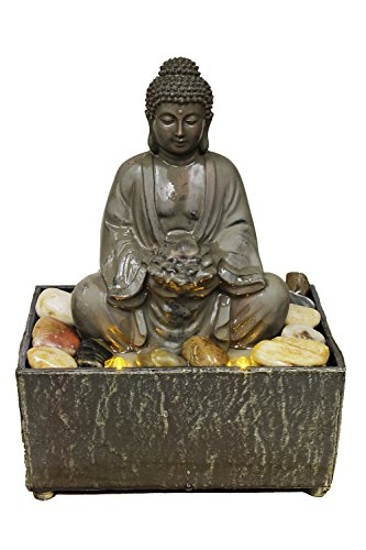 """Nature's Mark 8"""" H Lotus Buddha Tranquility Tabletop Water Fountain with LED Lights (Battery/Adapter)"""
