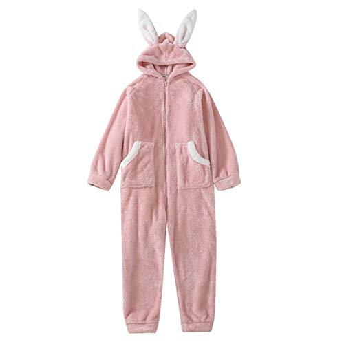 YYYSHOPP Otoño Invierno Nueva Ropa de dormir de franela de dibujos animados Pijamas de mujer Ropa de hogar con capucha Camisón (Color: Rosa, Talla: Mediana)