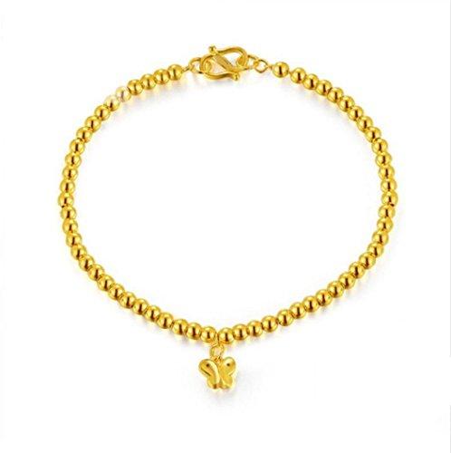 Gowe 24K Pure Gold Armbänder Classic Ball Schmetterling einfach schöne Armreif Kette & Link Armbänder Party Echt 999Damen Girl Solid