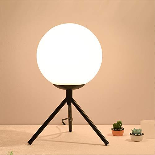 Lámpara de Mesa de diseño Simple Lámpara de Vidrio Sombra de lámpara de Bola para Dormitorio, trípode de Metal Lectura de Noche de Lectura de Noche para niños Adulto,Negro