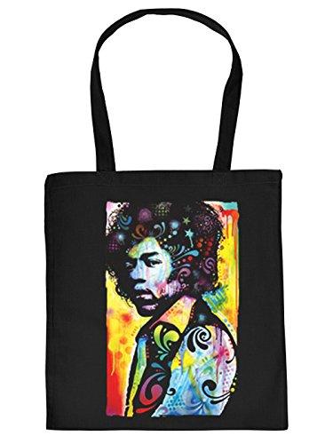 Nützliche Stofftasche mit Langen Tragegriffen in schwarz mit coolem Neon Aufdruck: Jimi Hendrix Gitarrist Musiker Star