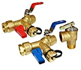 HQMPC Tankless Water Heater Isolation Valves Tankless Water Heater Flush Kit Lead Free Tankless Valve Kit 3/4' NPT , Including 1 Valve For Hot water,1 Valve For Cold Water, 1 Pressure Relief Valve