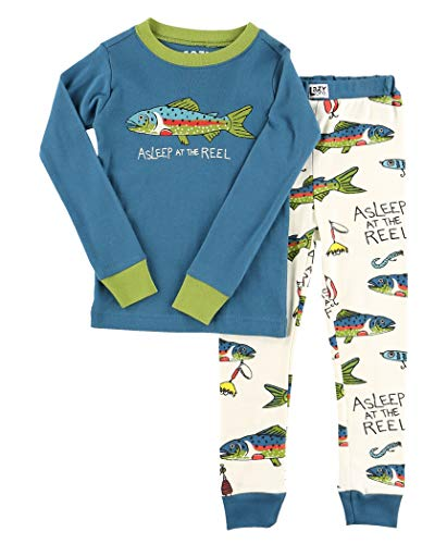 Lazy One Warm Long-Sleeve PJ Sets for Girls and Boys, Funny Animal Kids' Pajama Sets, Cozy, Comfy, Fishing (Asleep at The Reel, 8)
