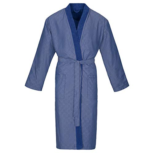 BUGATTI Bademantel Herren Kimono Giovanni Marine blau - 493 XL