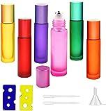 6 Stück Ätherische Öle Roller Flaschen,Glasflaschen Glasroller,Glas Roll-On Flaschen,Roll On...