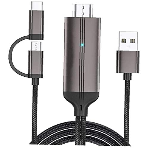 Tuimiyisou Micro USB a HD Tipo C Cable 2 en 1 Digital MHL a televisores de Alta definición Adaptador Negro