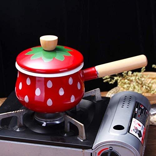 QZH Olla de Leche esmaltada Cacerola Antiadherente Cacerola de Leche recubierta de Piedra con Mango de Madera para cocinar líquido para Calentar Alimentos para bebés Mini Calentador de mantequil