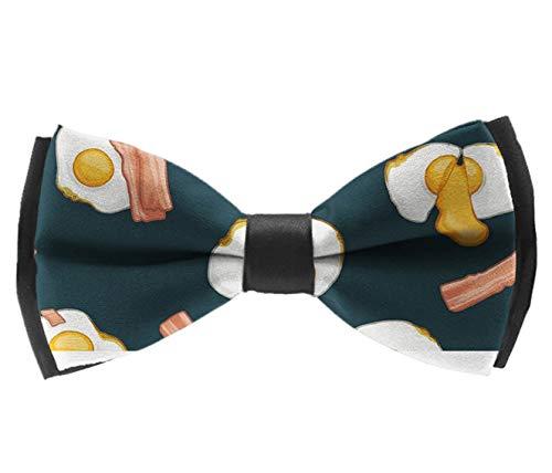 INWANZI Adjustable Length Pre-Tied Bow Tie for Men & Boys Elegant Bacon and Eggs Food Bowtie
