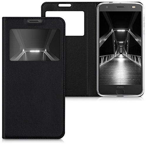 kwmobile Hülle kompatibel mit Motorola Moto Z2 Force - Handyhülle Handy Hülle Schutzhülle Klapphülle in Schwarz