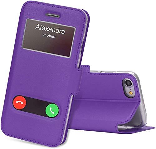 FYY Hülle für iPhone 8 Hülle, Handyhülle iPhone 7 Tasche [Premium Leder] [Standfunktion] [Magnetverschluss] Flipcase Lederhülle für iPhone 7 Hülle Schutzhülle/iPhone 8 Hülle-Violett