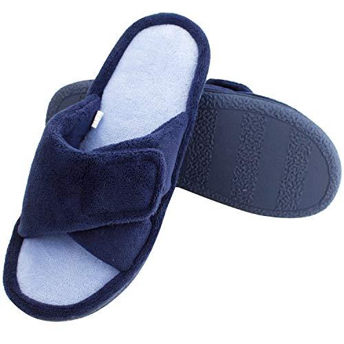 Magtoe Women Memory Foam Indoor Coral Velvet Adjustable Open-Toe House Slipper (Medium, Navy Blue)