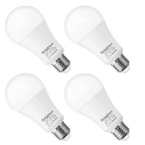 Fulighture LED Glühbirnen E27,Leuchtmittel E27, A60 E27 LED 12W Ersetzt 100w,1050 Lumen,3000 Kelvin warmweiß,240 Grad Abstrahlwinkel, Nicht Dimmbar, Flimmerfreies und Geräuschlose,4er Pack