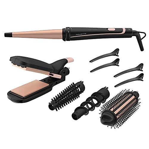Rowenta Multistyler Infinitos Looks 14 en 1 CF4231 plancha pelo y rizador pelo, tenacillas, rizador de pelo, moldeador,...