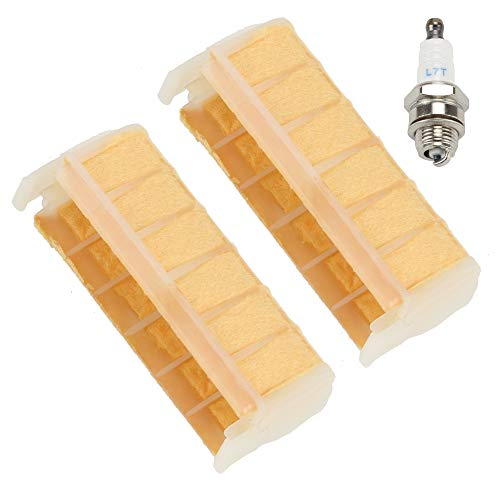 Mckin (Pack of 2) Air Filter fits Stihl 021 023 025 MS210 MS230 MS250 1123 120 1613 Chainsaw Parts with Spark Plug