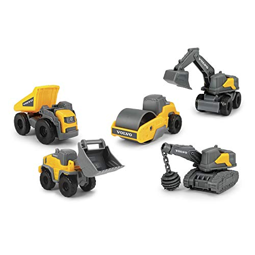 Dickie Toys Volvo Micro Workers 5 Pack, Spielzeugset Baustelle, Bagger, 5er-Set Baufahrzeuge, Baufahrzeuge Kinder, Baustellenfahrzeuge, Geschenkset Kinder 3 Jahre