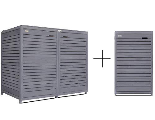 Fairpreis-design Mülltonnenbox Mülltonnenverkleidung 3 Tonnen Holz 120 L - 240 L anthrazit inkl. Rückwand vorimprägniert vormontiert Müllcontainer Mülltonnenschrank Mülltonne Mod.Adr.