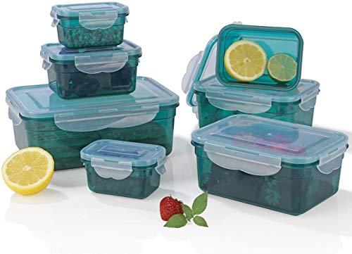 GOURMETmaxx Frischhaltedosen Klick-it | 7er Dosen Set mit Deckel, 4-fach-Klickverschluss und Dichtungsring | Spülmaschinen- Gefrierschrank- und Mikrowellengeeignet | Ineinander stapelbar [4 verschiedene Größen in smaragdgrün]