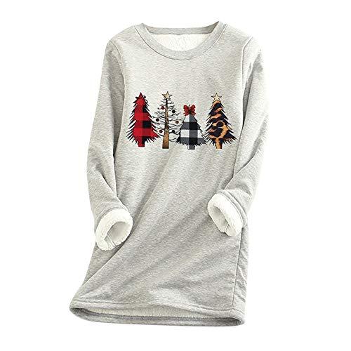 OIKAY Pullover Damen Dickes Fleece Sweatshirt Winter Samt Warmes Unterwäsche-Top...
