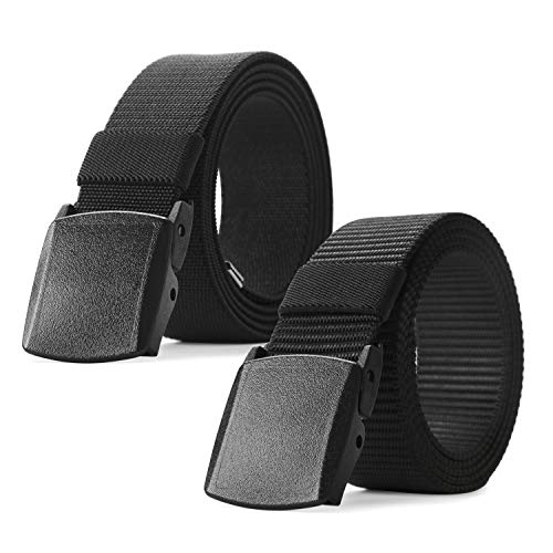 Nylon Military Tactical Men Belt 2 Pack Webbing Canvas Outdoor Web Belt with Plastic Buckle (Fits Pant up to 45 Inch,16-Elastic Belt Black+Nylon Belt Black)