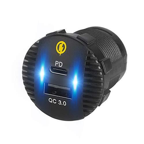 Cargadores de orificio redondo de carga rápida, enchufe de cargador USB 3.0 12v-24v, carga rápida dual, impermeable, cargador de coche 3.0 Pd, adaptador de corriente Enchufe del cargador de coche