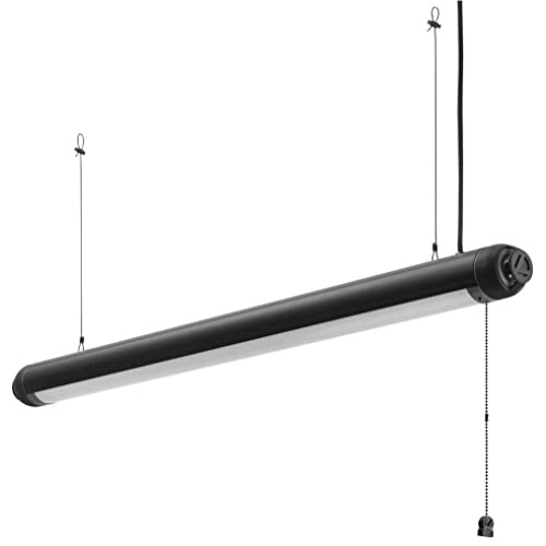 Lithonia Lighting SPSL 48IN 40K 80CRI BL LED Bluetooth Speaker Light for Garage | Shop | Game Room, Black