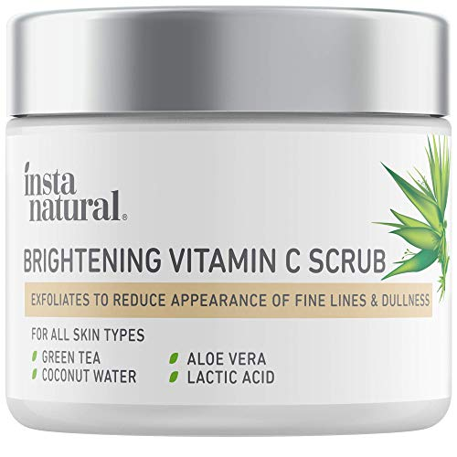 Brightening Vitamin C Face Scrub - Natural Cleansing Exfoliator - Blackhead Reducing Facial Mask - Deep Pore Cleanser - Gentle Exfoliant - Oily, Dry & Sensitive Skin - Green Tea & Coconut Water - 2oz