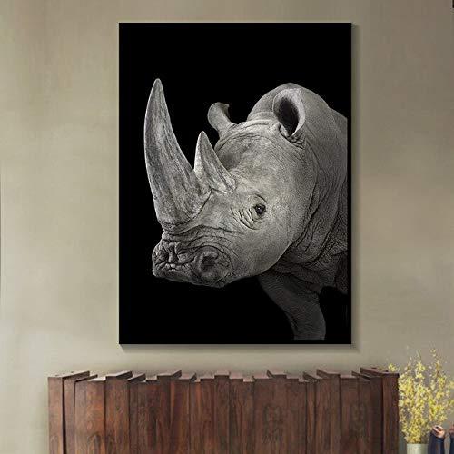 N / A Wildtier Schwarz-Weiß-Nashorn Leinwand Malerei Tier Poster Wandmalerei Wohnzimmer Home Decoration Gemälde Rahmenlos 60x80cm