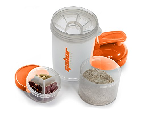 Gabor Fitness PRO Sports OCTO Mixer Shaker Bottle, Orange