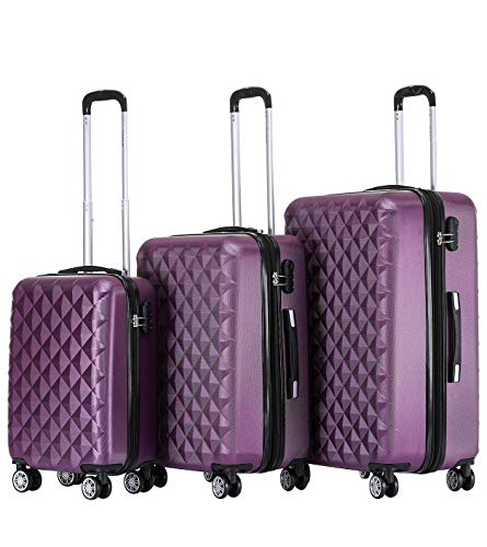 BEIBYE Zwillingsrollen 2066 Hartschale Trolley Koffer Reisekoffer Gepäck M-L-XL-Set (Lila, Set)
