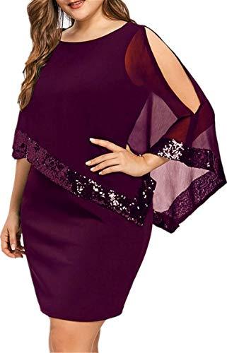 TIFENNY Women Business Plus Size Shawl Cold Shoulder Asymmetric Chiffon Strapless Sequins Dress Fashion Party Dresses Wine