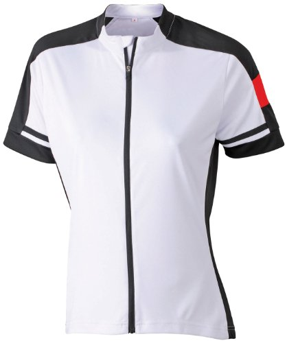 James & Nicholson Damen Sport T-Shirt Radtrikots Bike-T Full Zip weiß (white) X-Large