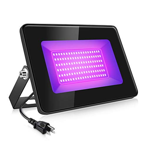 30W UV LED Flood Light, LED Black Lights with UL Plug, IP66 Waterproof Blacklight for Dance Party, Glow in The Dark, Stage Lighting, Aquarium, Body Paint, Fluorescent Poster, Neon Glow (1 Pack)