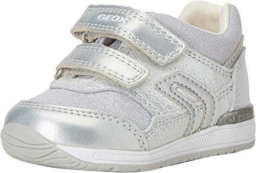 Geox B RISHON Girl A, Scarpe da Ginnastica Basse Bambina, Bianco (White/Silver C0007), 24 EU