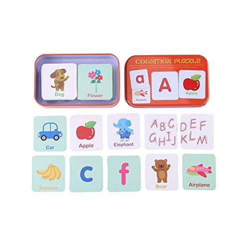 fdit Flash Karten Early Learning Enlightment Spielzeug Karte mit Eisen Box geeignet für Kinder Kinder Kleinkinder Match Spiel, Puzzle Karten #4