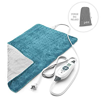 "PureRelief XL - King Size Heating Pad with Fast-Heating Technology, 6 Temperature Settings, & Convenient Storage Bag (12"" x 24"")"