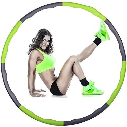 FWQAZ Fitness Hula Hoop zur Gewichtsreduktion,Reifen mit Schaumstoff Gewichten Einstellbar Breit 95 cm beschwerter Hula-Hoop-Reifen für Fitness (8 Knoten)